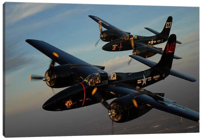F7F Tigercats In Formation Flight Over San Antonio, Texas Canvas Art Print
