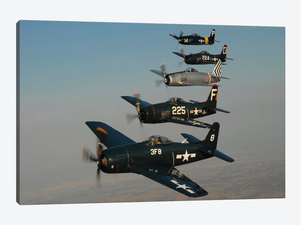 Formation Of Grumman F8F Bearcats Flying Over Chino, California by Phil Wallick 1-piece Canvas Wall Art