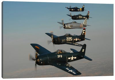 Formation Of Grumman F8F Bearcats Flying Over Chino, California Canvas Art Print