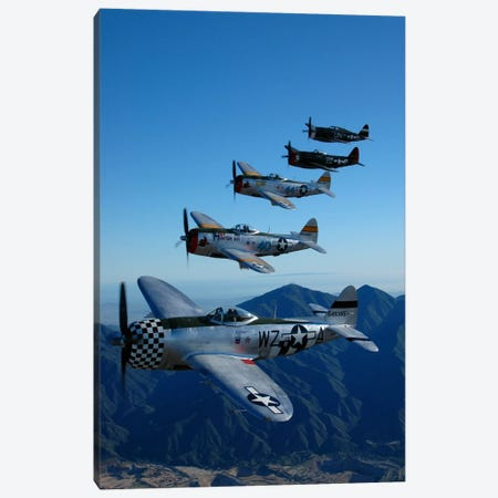 Formation Of P-47 Thunderbolts Flying Over Chino, California I Canvas Print #TRK403} by Phil Wallick Canvas Print