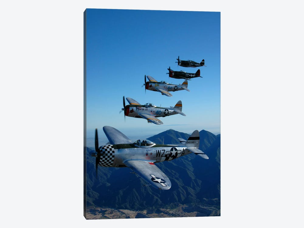 Formation Of P-47 Thunderbolts Flying Over Chino, California I by Phil Wallick 1-piece Art Print