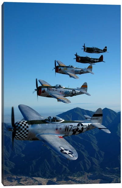 Formation Of P-47 Thunderbolts Flying Over Chino, California I Canvas Art Print