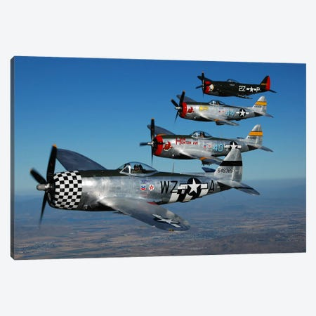 Formation Of P-47 Thunderbolts Flying Over Chino, California II Canvas Print #TRK404} by Phil Wallick Canvas Artwork