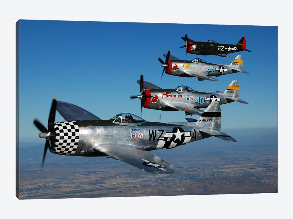 Formation Of P-47 Thunderbolts Flying Over Chino, California II 1-piece Canvas Art