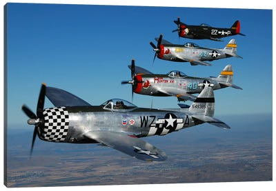 Formation Of P-47 Thunderbolts Flying Over Chino, California II Canvas Art Print