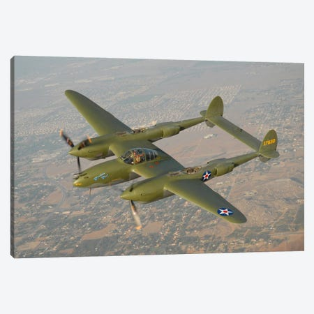 P-38 Lightning Over San Bernardino, California Canvas Print #TRK405} by Phil Wallick Canvas Wall Art
