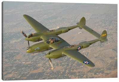 P-38 Lightning Over San Bernardino, California Canvas Art Print