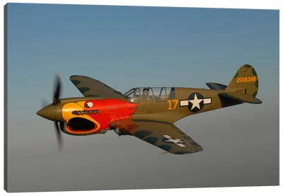 P-40 Warhawk Flying Over Chino, California Canvas Art Print