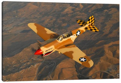 P-40 Warhawk Flying Over Chino, California I Canvas Art Print