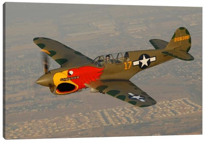 P-40 Warhawk Flying Over Chino, California II Canvas Art Print