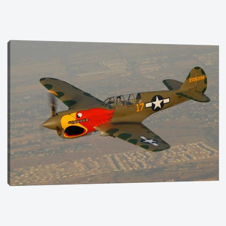 P-40 Warhawk Flying Over Chino, California II Canvas Print #TRK408} by Phil Wallick Art Print