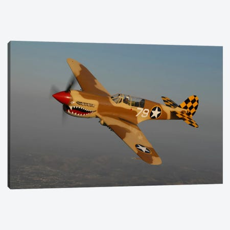 P-40 Warhawk Flying Over Chino, California III Canvas Print #TRK409} by Phil Wallick Canvas Art Print