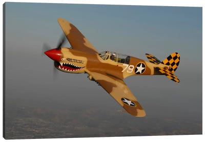 P-40 Warhawk Flying Over Chino, California III Canvas Art Print