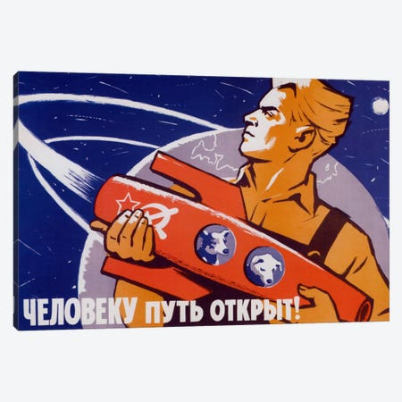 Soviet Space Poster Featuring Space Dogs, Belka And Strelka, In A Rocket Being Held By A Man Canvas Print #TRK40} by John Parrot Canvas Art