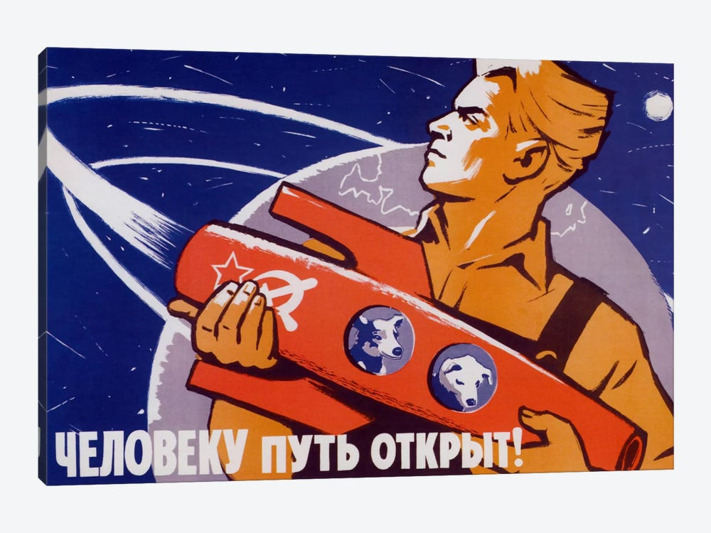 Soviet Space Poster Featuring Space Dogs, Belka And Strelka, In A Rocket Being Held By A Man by John Parrot 1-piece Art Print