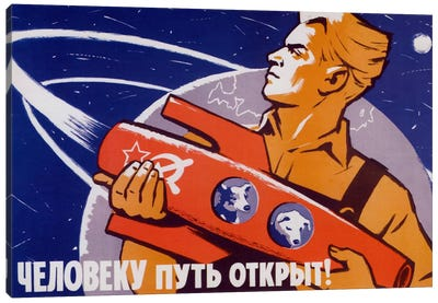 Soviet Space Poster Featuring Space Dogs, Belka And Strelka, In A Rocket Being Held By A Man Canvas Art Print