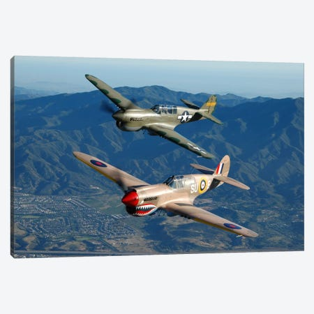 P-40 Warhawks Flying Over Chino, California I Canvas Print #TRK410} by Phil Wallick Canvas Art
