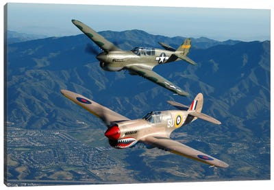 P-40 Warhawks Flying Over Chino, California I Canvas Art Print