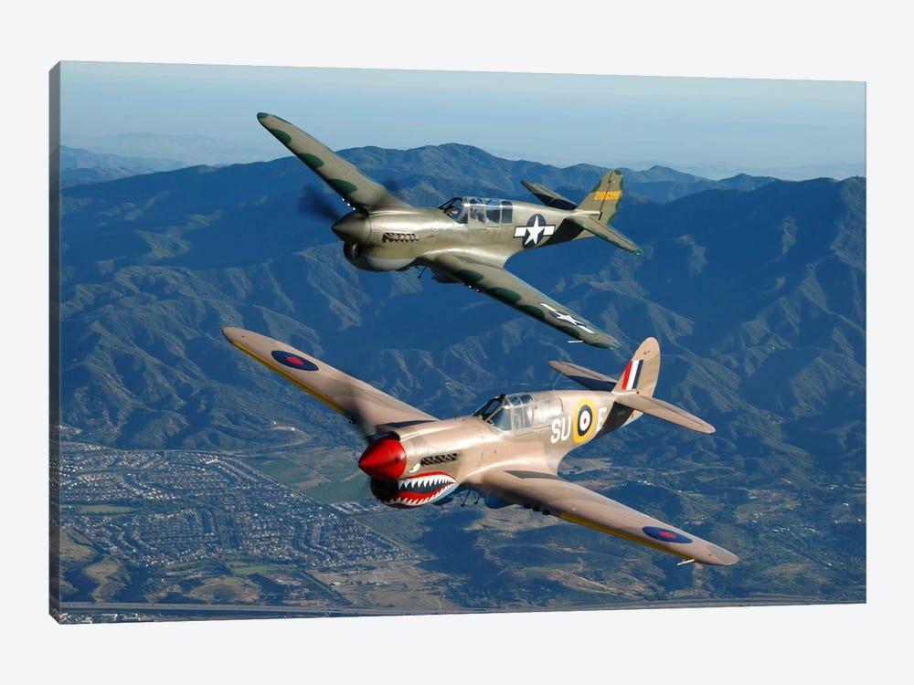 P-40 Warhawks Flying Over Chino, California I 1-piece Art Print