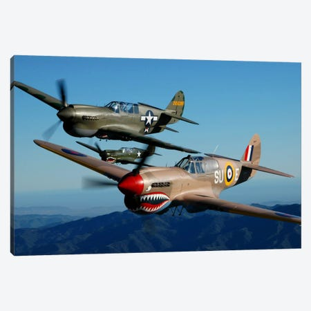 P-40 Warhawks Flying Over Chino, California II Canvas Print #TRK411} by Phil Wallick Canvas Artwork