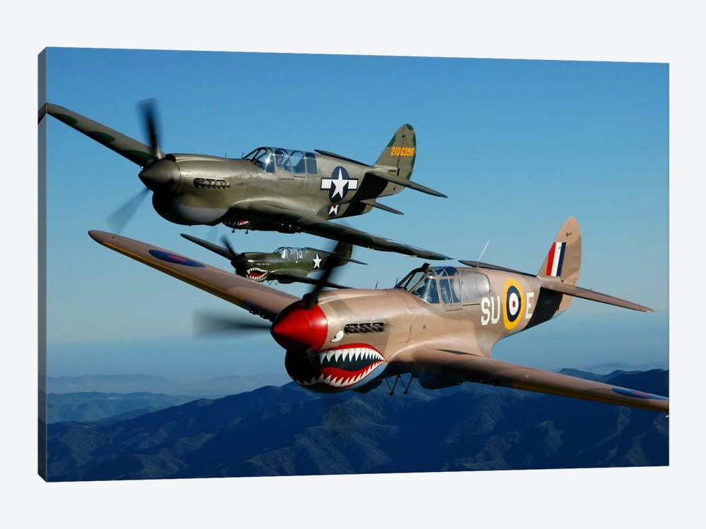 P-40 Warhawks Flying Over Chino, California II by Phil Wallick 1-piece Canvas Wall Art