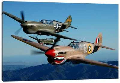 P-40 Warhawks Flying Over Chino, California II Canvas Art Print