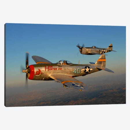 P-47 Thunderbolts Flying Over Chino, California II Canvas Print #TRK413} by Phil Wallick Canvas Artwork
