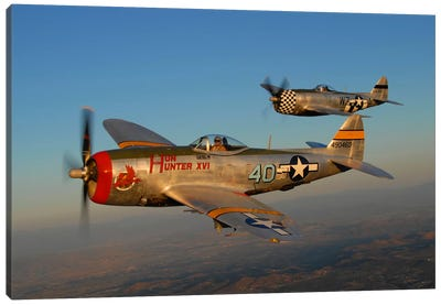 P-47 Thunderbolts Flying Over Chino, California II Canvas Art Print