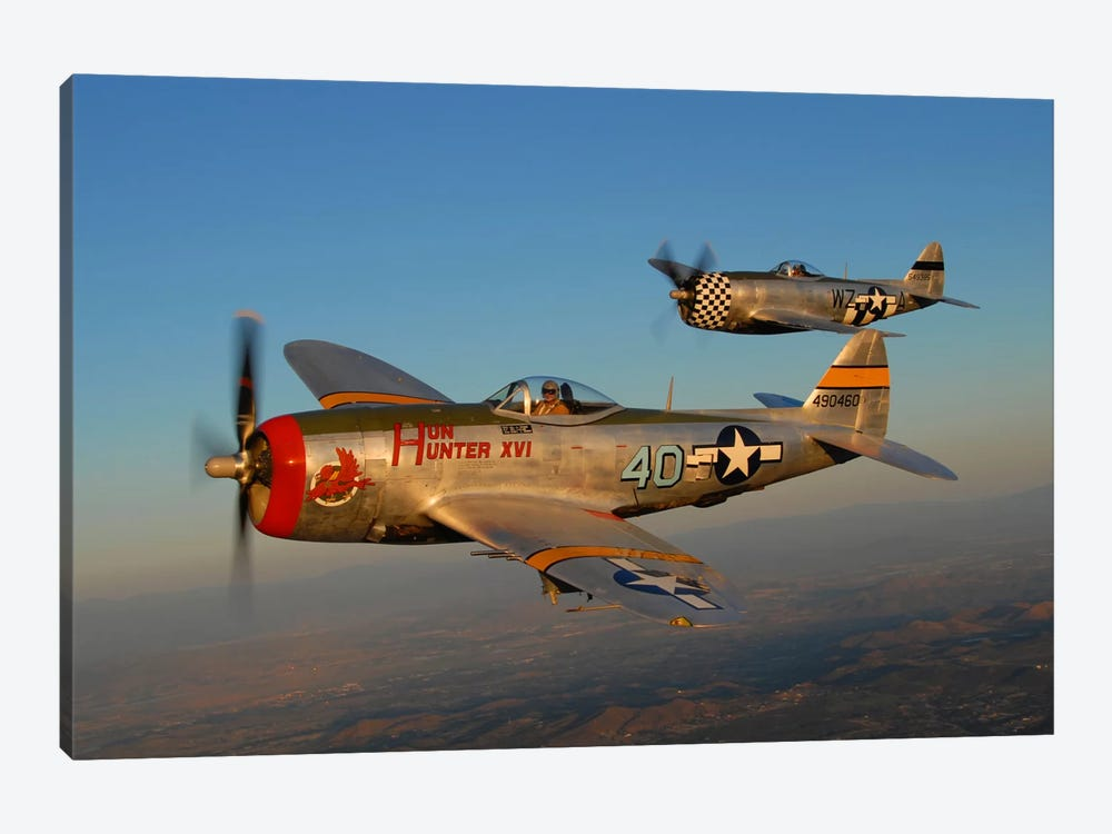 P-47 Thunderbolts Flying Over Chino, California II by Phil Wallick 1-piece Canvas Artwork