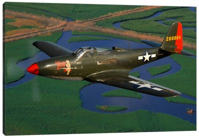 P-63 Kingcobra Flying Over Northern California Canvas Art Print
