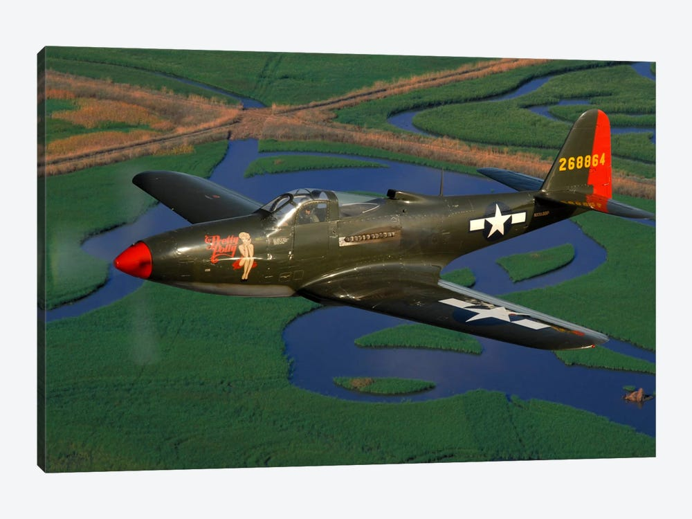 P-63 Kingcobra Flying Over Northern California by Phil Wallick 1-piece Canvas Print