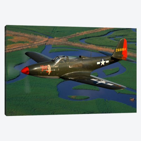 P-63 Kingcobra Flying Over Northern California Canvas Print #TRK414} by Phil Wallick Canvas Art Print
