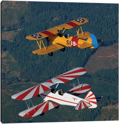Stearman Model 75 Biplanes Flying Over Vacaville, California Canvas Art Print