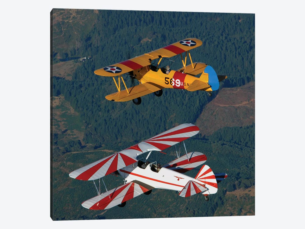 Stearman Model 75 Biplanes Flying Over Vacaville, California by Phil Wallick 1-piece Canvas Artwork