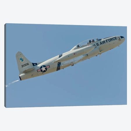 T-33 Shooting Star Flying Over Watsonville, California Canvas Print #TRK416} by Phil Wallick Art Print