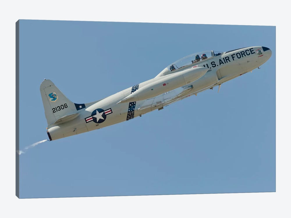 T-33 Shooting Star Flying Over Watsonville, California by Phil Wallick 1-piece Canvas Art Print