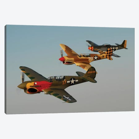 Two P-40 Warhawks And A P-51D Mustang Flying Over Chino, California Canvas Print #TRK417} by Phil Wallick Canvas Art Print