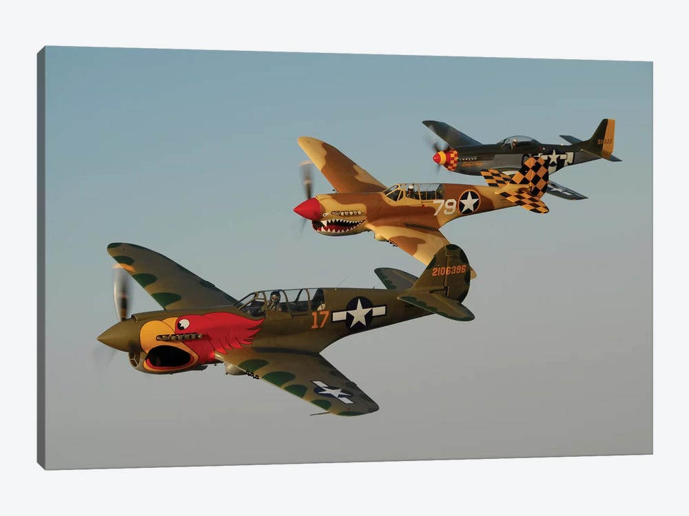 Two P-40 Warhawks And A P-51D Mustang Flying Over Chino, California by Phil Wallick 1-piece Canvas Wall Art