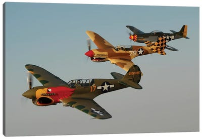 Two P-40 Warhawks And A P-51D Mustang Flying Over Chino, California Canvas Art Print