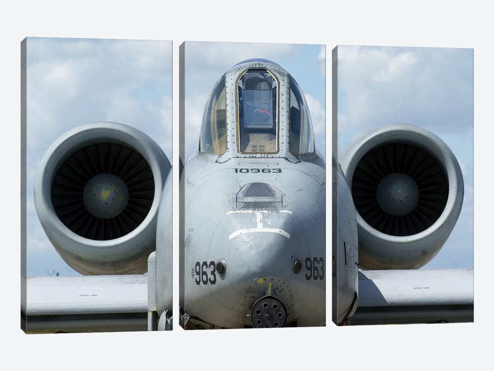 Front View Of An A-10A Thunderbolt II by Ramon Van Opdorp 3-piece Canvas Art
