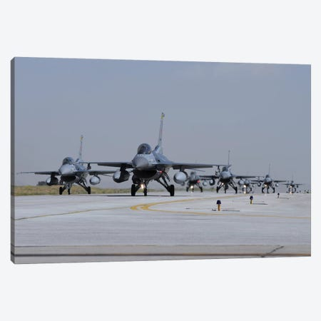 A Squadron Of Turkish Air Force F-16C And F-16D Aircraft Taxiing On The Runway Canvas Print #TRK423} by Riccardo Niccoli Canvas Print
