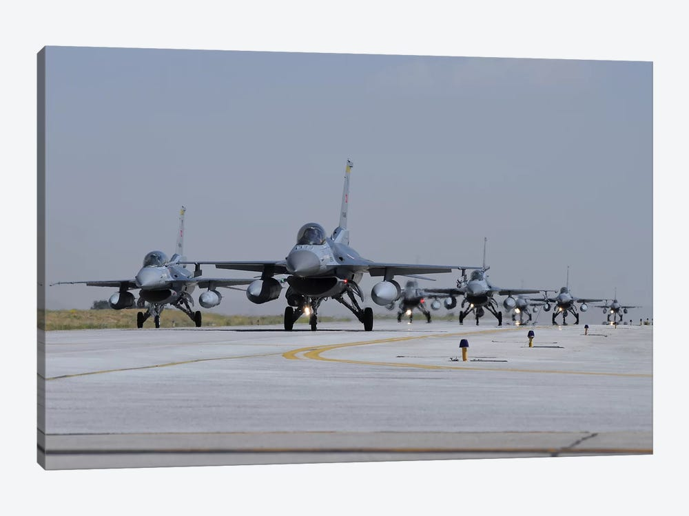 A Squadron Of Turkish Air Force F-16C And F-16D Aircraft Taxiing On The Runway by Riccardo Niccoli 1-piece Canvas Print