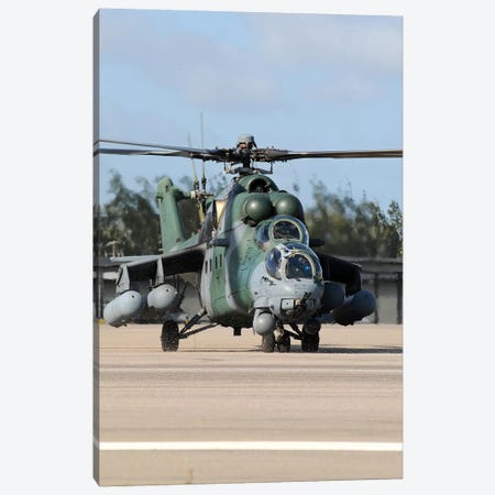 Brazilian Air Force Mil Mi-35 Combat Helicopter Taxiing At Natal Air Force Base, Brazil Canvas Print #TRK426} by Riccardo Niccoli Canvas Wall Art