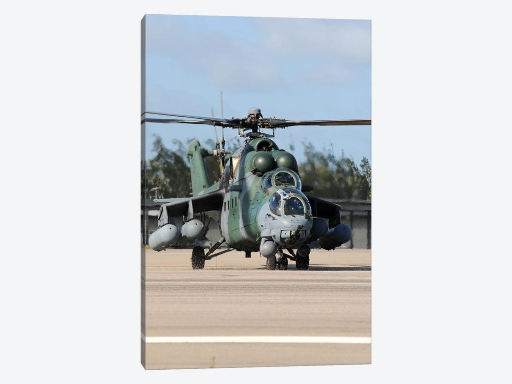 Brazilian Air Force Mil Mi-35 Combat Helicopter Taxiing At Natal Air Force Base, Brazil by Riccardo Niccoli 1-piece Canvas Art