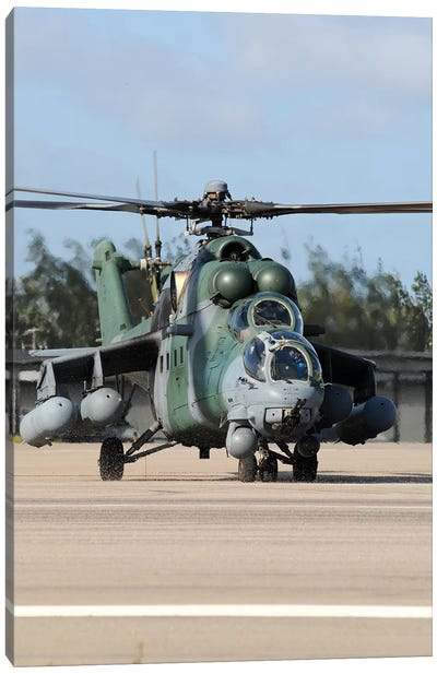 Brazilian Air Force Mil Mi-35 Combat Helicopter Taxiing At Natal Air Force Base, Brazil Canvas Art Print