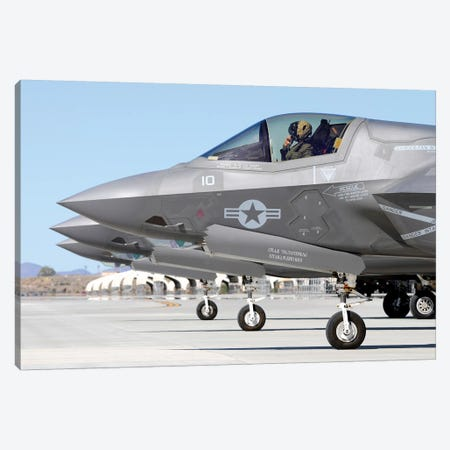 Three F-35B Lightning IIs At Marine Corps Air Station Yuma, Arizona Canvas Print #TRK429} by Riccardo Niccoli Art Print