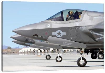 Three F-35B Lightning IIs At Marine Corps Air Station Yuma, Arizona Canvas Art Print
