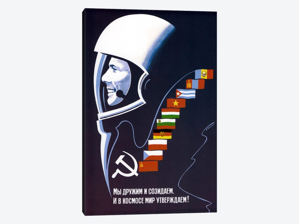 Soviet Space Poster Of Cosmonaut Yuri Gagarin by John Parrot 1-piece Canvas Art Print