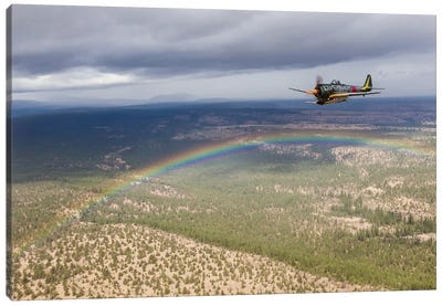 A Japanese A6M Zero And A Ki-43 Oscar Fly In Formation Above A Rainbow Canvas Art Print