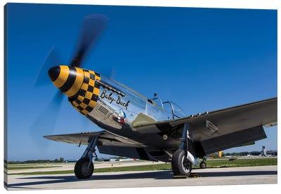A P-51 Mustang At Waukegan, Illinois Canvas Art Print